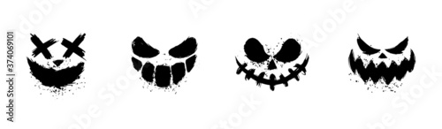Scary faces of Halloween pumpkin or ghost Fototapeta