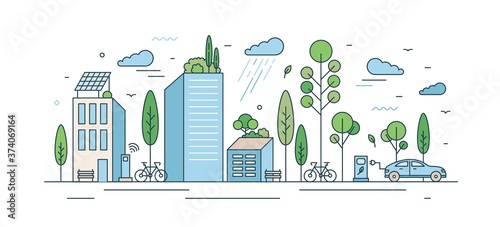 Leinwand Poster Modern eco friendly cityscape with architecture and natural park zone vector illustration in line art style