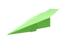 Handmade Green Paper Plane Isolated On White