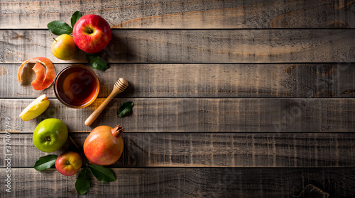 Fényképezés Rosh hashanah (Jewish New Year holiday), Concept of traditional or religion symbols on dark wooden background