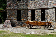 Old Horse Drawn Cart With Wood...