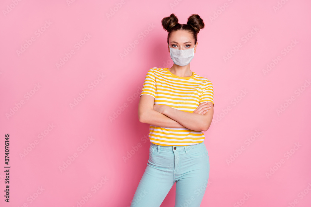 Fototapeta Portrait of her she nice attractive content girl wearing safety mask folded arms pandemia contamination wuhan sickness illness disease flu flue grippe isolated pastel pink color background