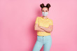 Portrait of her she nice attractive content girl wearing safety mask folded arms pandemia contamination wuhan sickness illness disease flu flue grippe isolated pastel pink color background