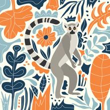 Cute Lemur In The Tropical Jun...