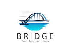 Bridge Street Water View Logo Design Template Illustration