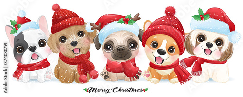 Fotografie, Obraz Cute doodle puppy for christmas with watercolor illustration