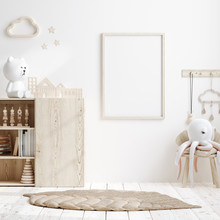 Mock Up Frame In Children Room With Natural Wooden Furniture, 3D Render