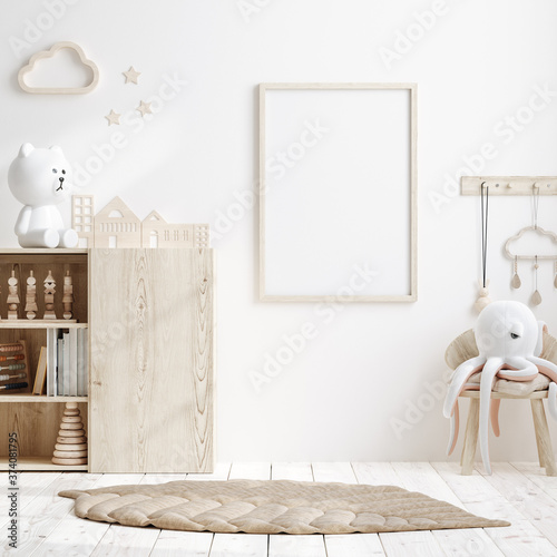 Fotografering Mock up frame in children room with natural wooden furniture, 3D render