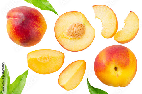 Tela peach fruits with green leaf and slices isolated on white background