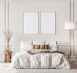 Mockup frame in contemporary bedroom design, bight home decor, 3d render