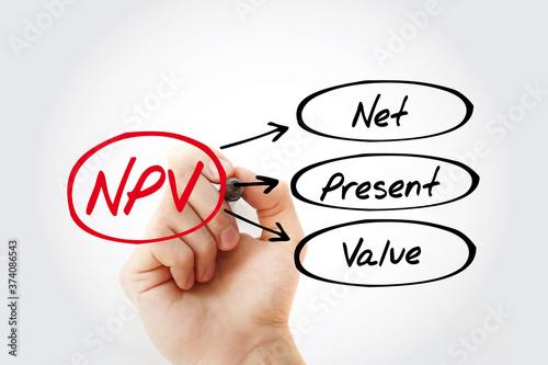 NPV - Net Present Value acronym with marker, business concept background Billede på lærred