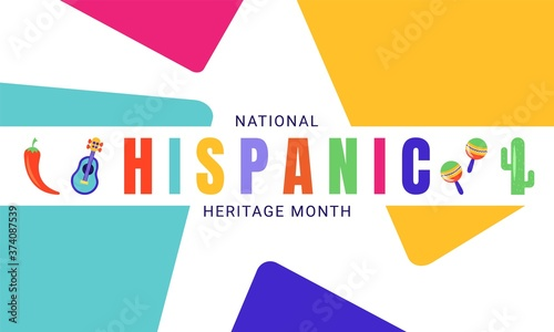 National Hispanic Heritage Month horizontal banner template decorated with the attributes of Latin American culture like chilli, cactus, guitar, maracas Wallpaper Mural