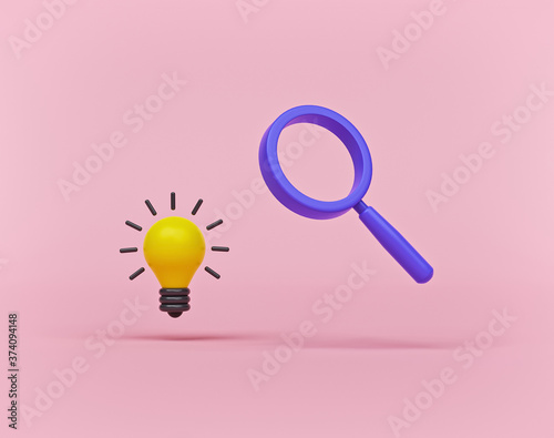 minimal light bulb and magnifying glass Poster Mural XXL