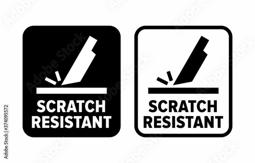"Photo ""Scratch resistant"" proof to abrasion information sign"