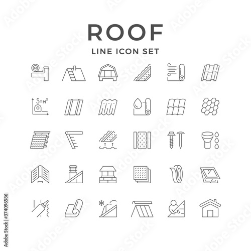 Fototapeta Set line outline icons of roof obraz
