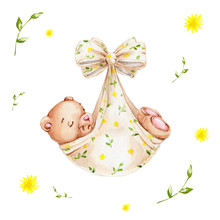 Sleeping Little Cute Teddy Bear; Watercolor Hand Draw Illustration; Can Be Used For Baby Shower Or Kid Poster; With White Isolated Background