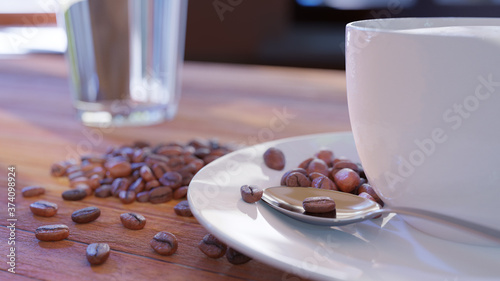 Slika na platnu One white cup with a cappuccino on the table surrounded with coffee beans