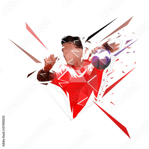 Fotografia, Obraz Handball player shooting ball, low polygonal geometric vector illustration