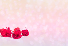 Delicate Red Roses On A Pink Bokeh Background With Copy Space.
