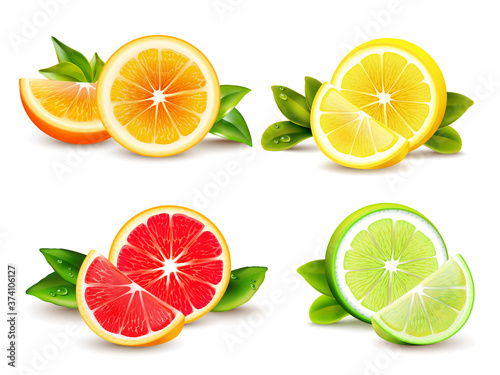 Obraz na plátně Citrus Fruits  Segments 4 Realistic Icons