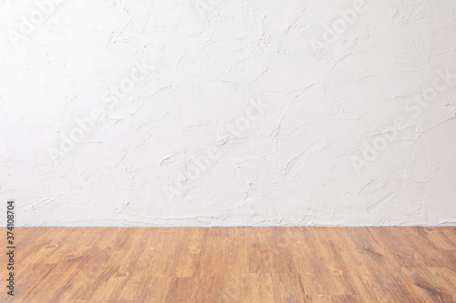 empty white room with wooden floor Canvas