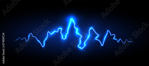 Cuadros en Lienzo Realistic blue lightning with sparks and glow, vector illustration