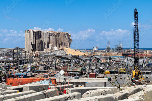 Massive blast/explosion site that happened at Beirut Port in Beirut, Lebanon Wallpaper Mural