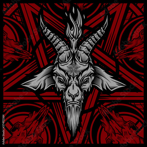 Baphomet goat head Canvas Print
