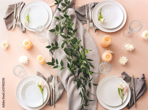 Obraz Beautiful table setting on color background - fototapety do salonu