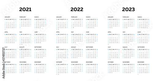 The 2021 2022 2023 calendar template with vertical monthly columns Fototapet