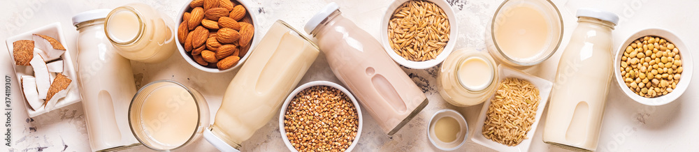 Fototapeta A bottles of alternative  milk and ingredients.