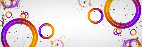 Abstract background with gradient circles. Scientific, futuristic theme with plexus effect.
