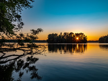 Sunset Over Pymatuning Lake In...