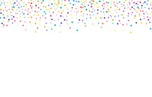 White Texture With Multi-colored Spots And Dots. Chaotic Jagged Spots Or Seamless Dots Tiny Specks Or Droplets Of Different Sizes On An Abstract Ornament. Background For Postcards, Design Or Montage.