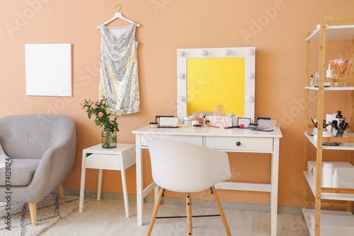 Fényképezés Stylish interior of modern dressing room