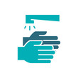 Washing hands with water colored icon. Cleaning and disinfection, hygiene symbol.