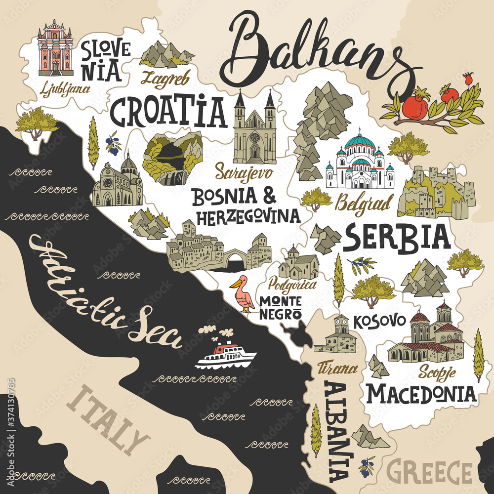 Fototapeta Cartoon map of Balkans. Travel and attractions of Eastern Europe