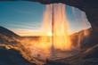 Seljalandfoss waterfall in sunset time, Iceland