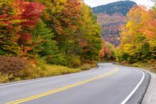 Stunning Autumn Colours Along A Winding Mountain Road. Kancamagus Highway, NH, USA.