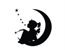 Illustration;  Little Girl Fairy Sitting On Moon Stars Wish Wand Tinker Bell Wall Decal Sticker Art Mural Home