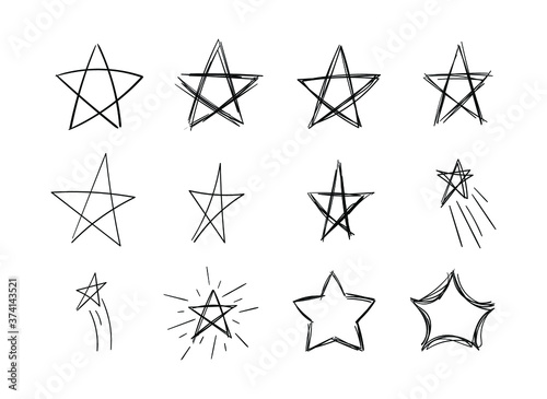 Fototapeta Vector drawn doodle stars, scribble lines, black stars  isolated on white background, chalk drawing