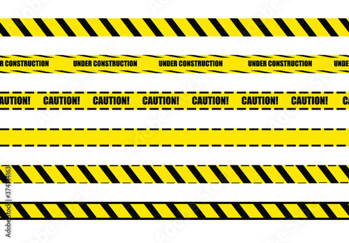 Leinwand Poster Vector warning tapes set, seamless lines, yellow and black bright colors, design elements isolated on white background
