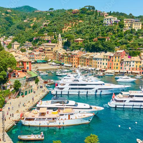 Harbour with yachts and boats in Portofino Canvas Print