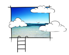 Poster Blue Horizon With Clouds