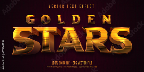 Obraz Golden stars text, shiny golden style editable text effect - fototapety do salonu