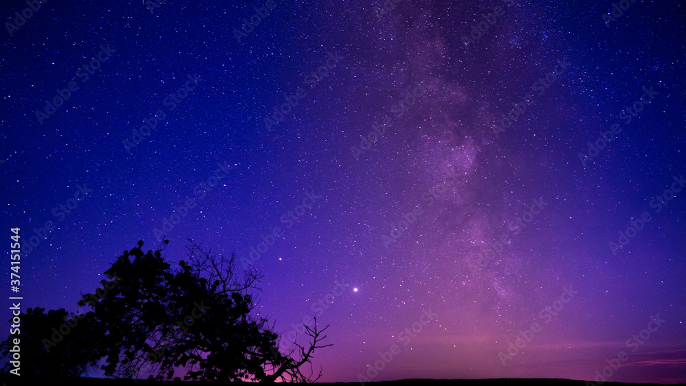 Starry night sky. Milky way and stars