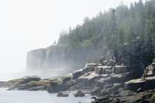 New England Coast In Early Morning With Fog And Mist - Maine