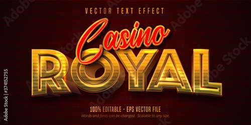 Fotomural Casino Royal text, shiny golden and red color style editable text effect