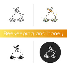 Pollination Icon. Linear Black And RGB Color Styles. Working Bee Collecting Nectar, Carrying Wildflower Pollen. Beekeeping, Botany. Honeybee Pollinating Flowers Isolated Vector Illustrations