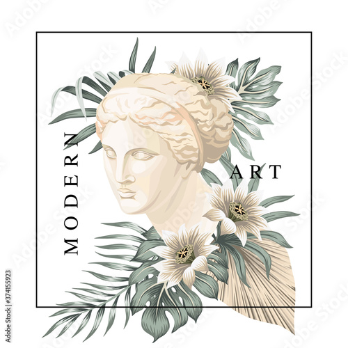 Fototapeta Tropical Venus marble head floral palm leaves, flower print